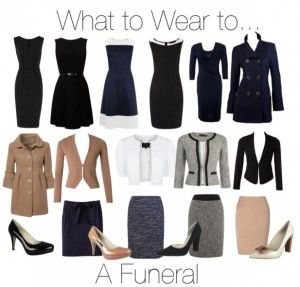 Always keep in mind these words when choosing an outfit: respect, modesty, conservative, so keep it classic. No, you don't HAVE to wear black, but navy & dark colors are always safe. No jeans... EVER!