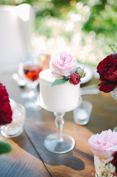 Modern + mini white round wedding cake with light pink garden rose cake topper {Earth and Sugar}