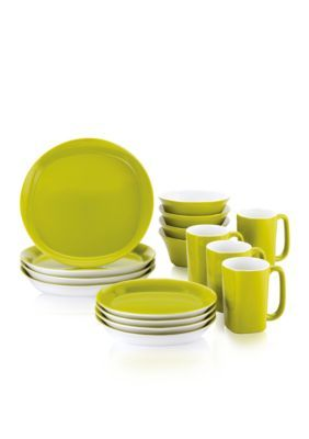 Rachael Ray  Round And Square 16-Piece Dinnerware Set - Green - One Size