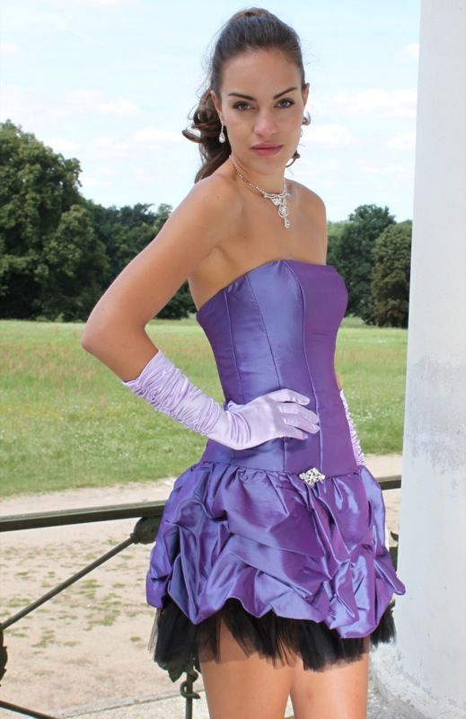 Sexy Purple Dress with Crystal Brooch