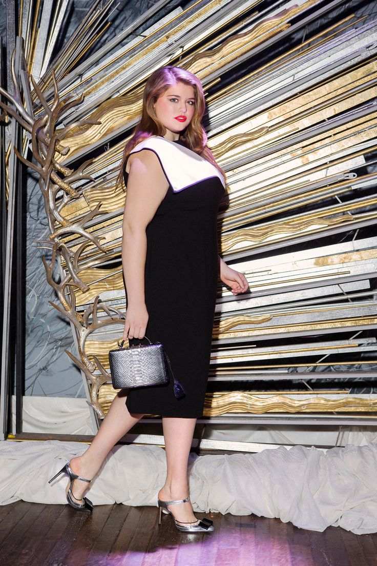 The BEST Plus-Size Cocktail Dresses For NYE #refinery29  http://www.refinery29.com/cocktail-dresses-for-plus-size-women#slide3  Take an otherwise-simple, black-and-white work dress into evening territory by pairing it with metallic accessories and a punchy lip color.  ASOS CURVE Exclusive Dress With Origami Fold Detail, $104.23, available in sizes 14 to 28 at ASOS; Bionda Castana 'Atlanta' Silver Metallic Calf-Leather Slip-On Pump, $762.61, available at Bionda Castana; Mark Cross Small Grace…