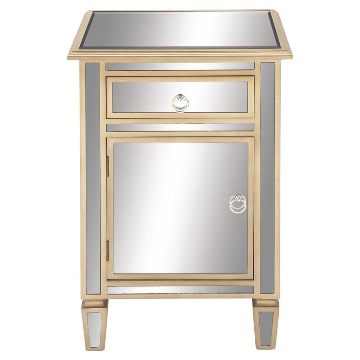 DecMode Mirrored Side Table - 56668