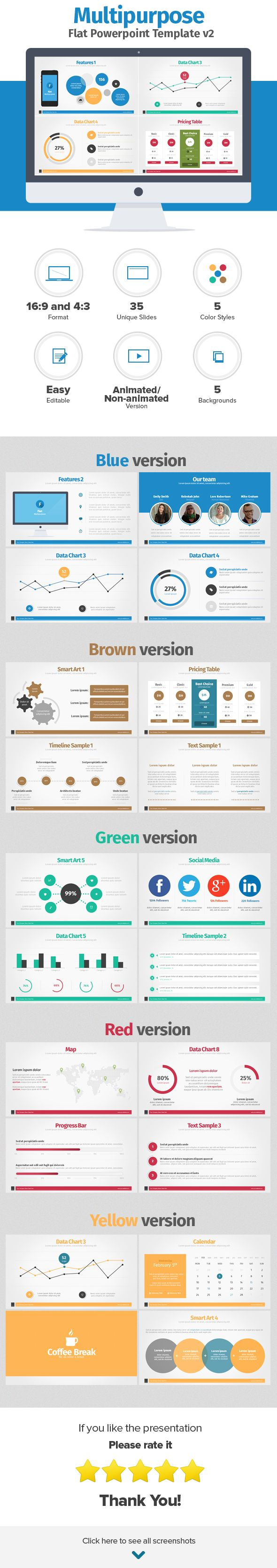 FLAT POWERPOINT PRESENTATION . Modern and simple Powerpoint Presentation Template with flat elements. All slides are fully editable. Easy to change colors, text, photos etc. Perfect for business, corporate and personal use.If you like this presentation don't forget to rate it. DOWNLOAD: http://graphicriver.net/item/multipurpose-flat-powerpoint-presentation-v2/6970058?ref=iDny  ★ ★ ★ ★ ★ #flatdesign #webdesign #powerpointtemplates #powerpointpresentation #powerpointdesign  #infographic