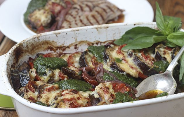 #AMW Grilled venison leg steaks with aubergine and tomato tian