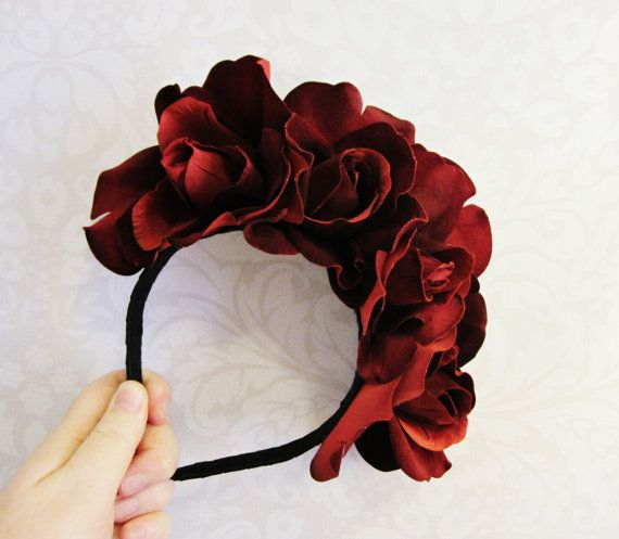 day of the dead headpiece tutorial | Red Rose Dia De Los Muertos Headband, Day of the Dead,Rose Flower ...