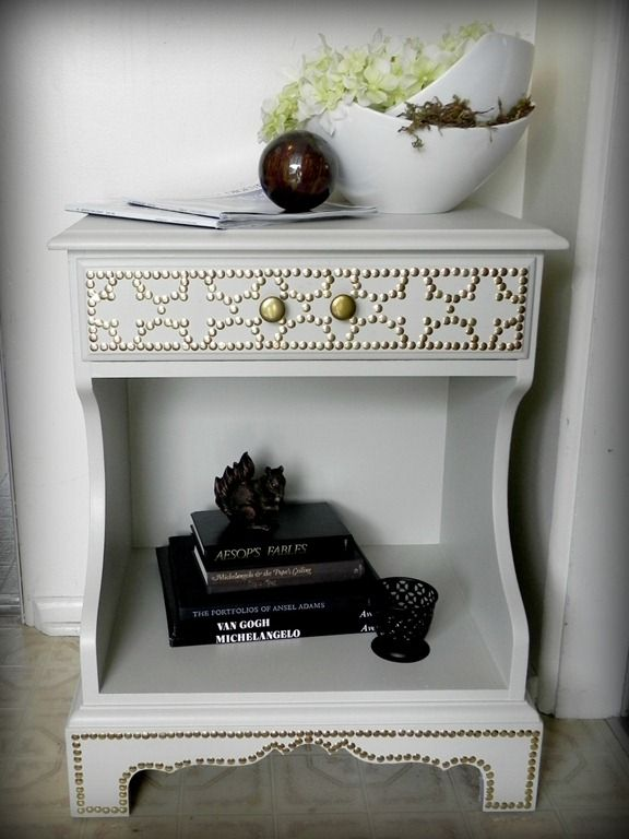 DIY nailhead trim with thumbtacks--same effect for much cheaper: Ideas, Craft, Side Tables, Table Makeover, Nailhead Table, Furniture, Diy