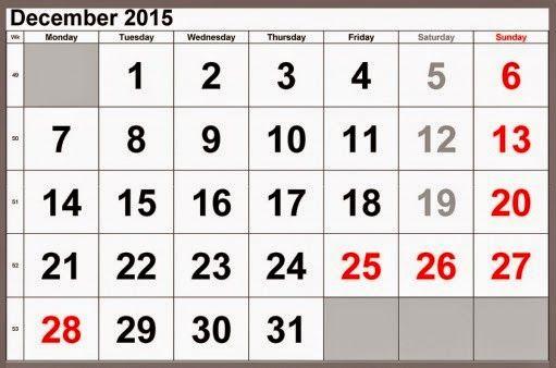 11 Best Free Printable Calendar December 2015 Images On Pinterest