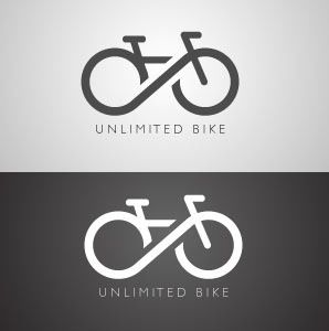 """Like in article this logo incorporates two ideas into one general image. The tires of the bike have been alternated to an infinite sign to show """"Unlimited Bikes""""."""