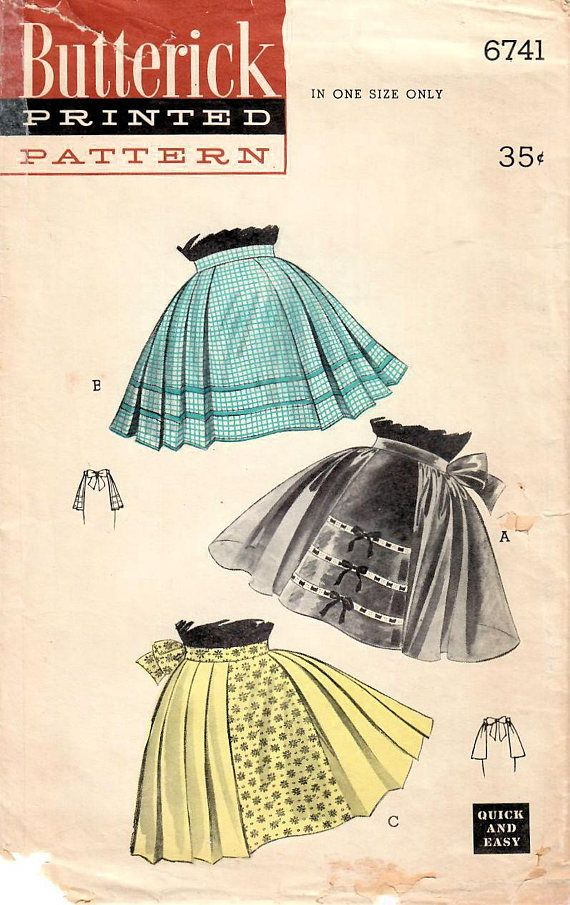 1950s Butterick 6741 Vintage Sewing Pattern Misses Half Apron