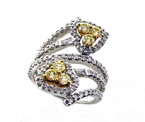 An 18ct White and Yellow Gold, Yellow Diamond Ring