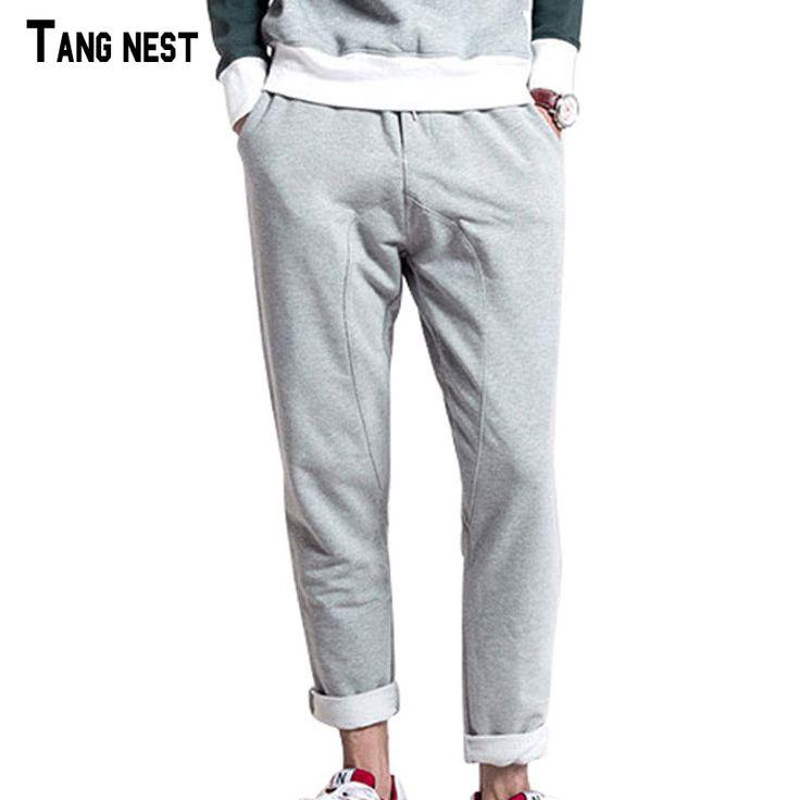 TANGNEST Men Harem Sweatpants 2017 New Arrival Men Solid Grey Loose Harem Sweatpants Full Length Drawstring Sweatpants MKX1059 #Affiliate