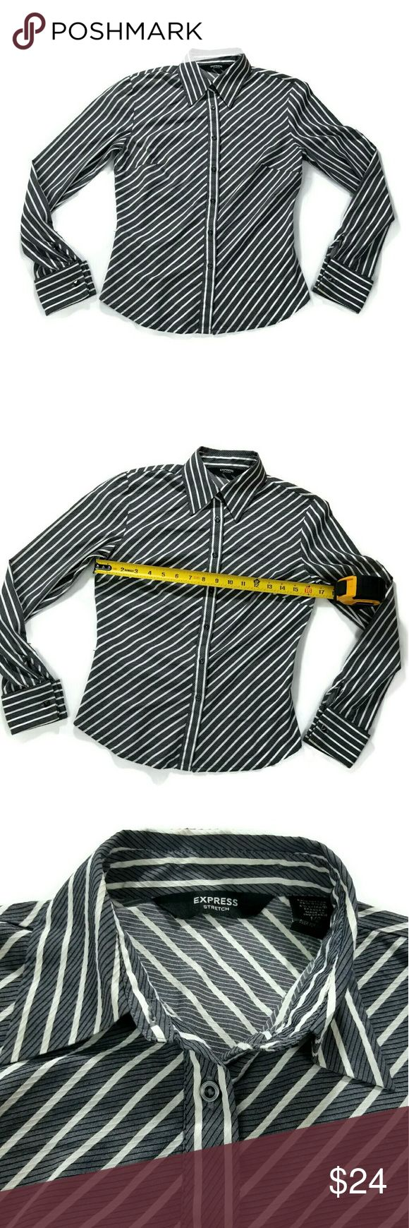 💥MAKE OFFER💥Express womens button up Great condition. Size 1/2. 59% cotton, 35% nylon, 6% lycra spandex. Stretchable fabric. Color gray with white stripes. Comes with cufflinks, refer to 4th picture. Express Tops Button Down Shirts