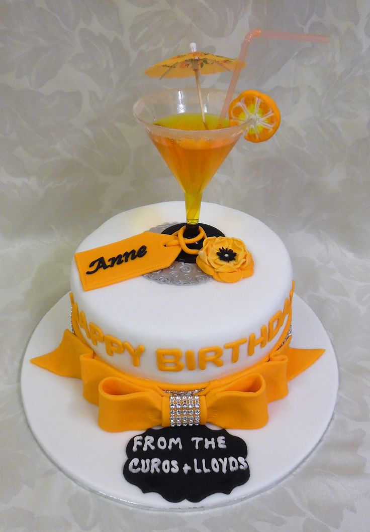Cocktail birthday cake (I filled the glass with jelly)