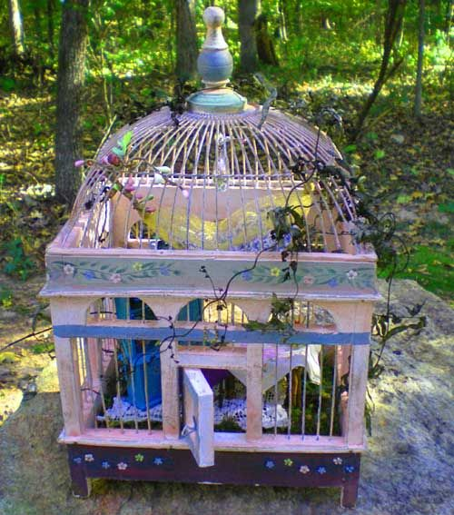 Captivating The Green Griffin: Vintage Bird Cage For A Fairie