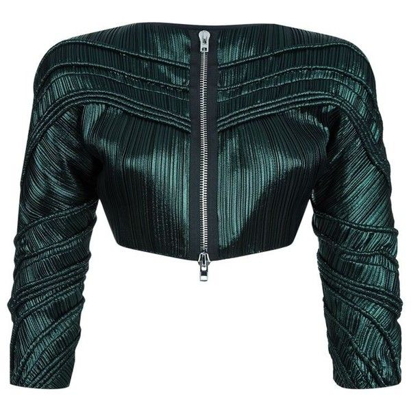 Givenchy Pleated Crop Jacket (£3,075) ❤ liked on Polyvore featuring outerwear, jackets, green silk jacket, silk jacket, givenchy, green zipper jacket and cropped jacket