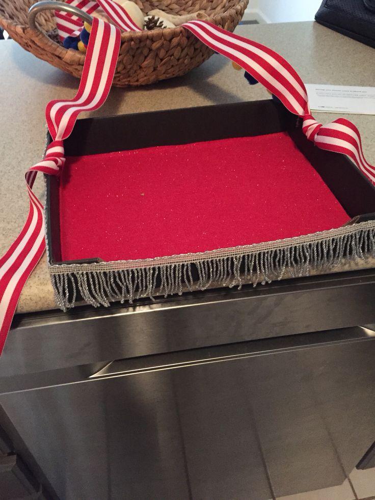 Cigarette Girl homemade tray. Box/ Glitter Red Felt/ Ribbon/ Fringe.