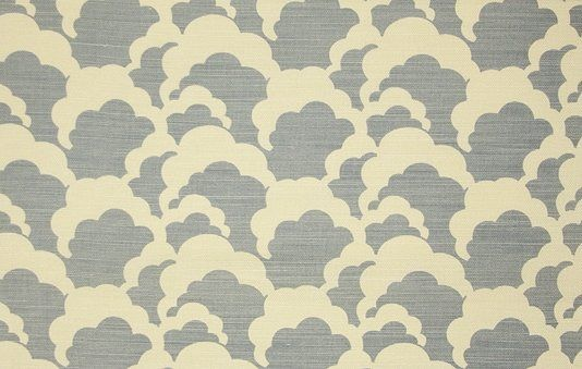 Clouds Fabric Linen Union Clouds design in blue printed on cream linen, featuring a soft repeating cloud design.