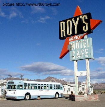 Roy's Motel and old city bus - Route 66