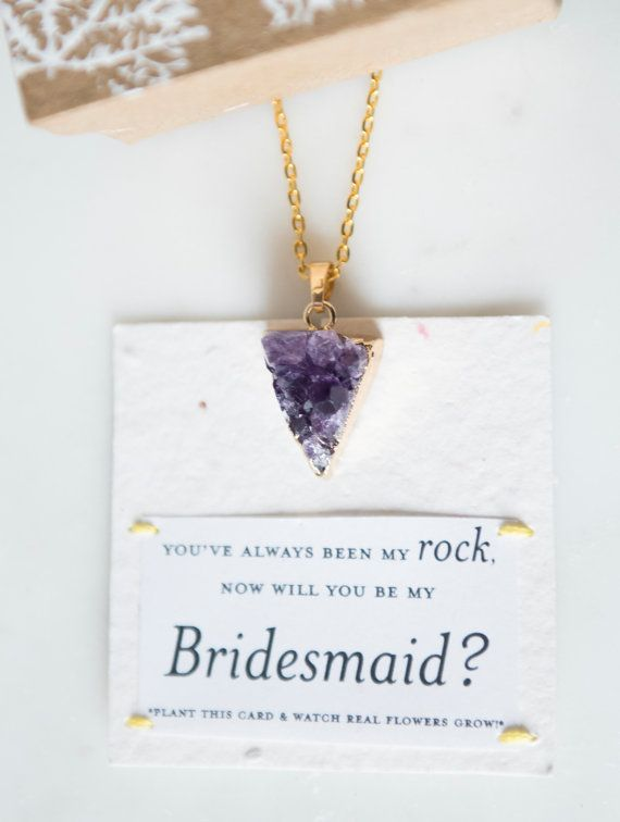 Will You Be My Bridesmaid Amethyst Druzy Raw by ShopHazelandIvy