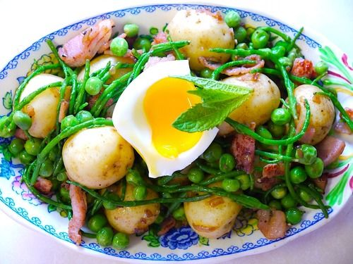 In season in May - samphire and new potatoes. Combine the two with bacon, and broad beans to make this delicious looking salad #food #recipes #veg