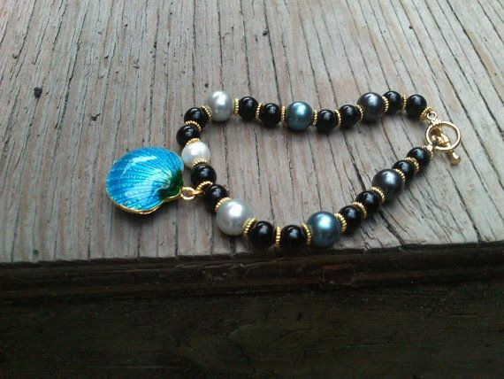 Blue Mother of Pearl~ Black Onyx~ Gold