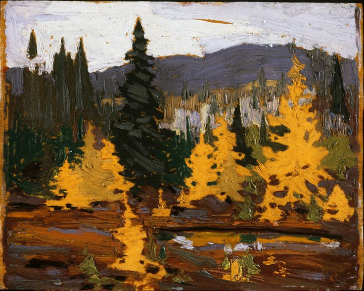 Tom Thomson Catalogue Raisonné | Tamaracks, Fall 1915 (1915.108) | Catalogue entry