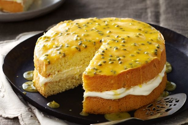 Passionfruit sponge with chantilly cream - http://lanasrecipes.com/passionfruit-sponge-with-chantilly-cream/