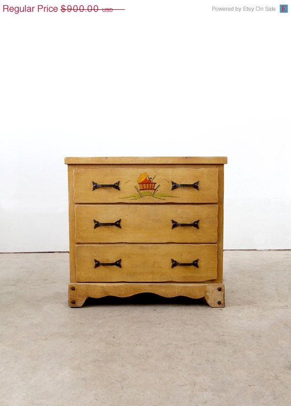 A Signed Vintage Monterey Dresser Circa The Small Wood Dresser Features A  Blond Faux Bois Finish. A Hand Painted Hacienda Scene Adorns The Top Drawer  Pict