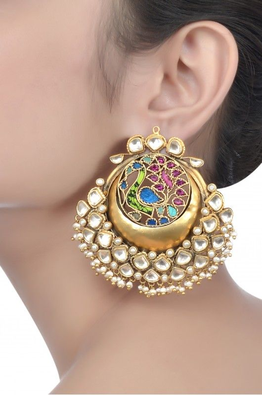 Silver Multi Stone Crescent Earrings
