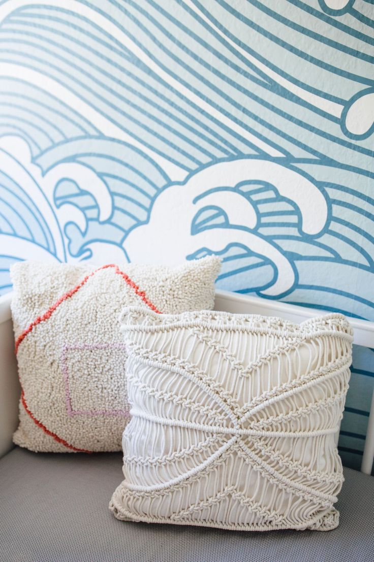 from the pillows to the wallpaper this california nursery is sooooo good