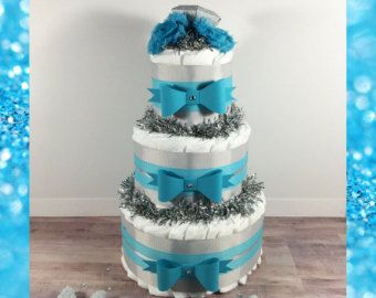 Turquoise and Gray 3-Tier Girl Diaper Cake Centerpiece, Girl Baby Shower Diaper Cake Centerpiece, Girl Diaper Centerpiece
