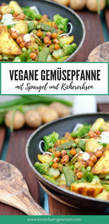 Vegane Gemüsepfanne mit Erbsen, Kartoffeln, grünem Spargel, Kichererbsen und Brokkoli - macht satt ist einfach und schmeckt köstlich! Veganes Rezept deutsch