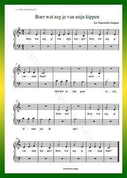 Boer wat zeg je van mijn kippen - Gratis bladmuziek van kinderliedjes in eenvoudige zetting voor piano. Piano leren spelen met bekende liedjes.