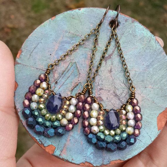 Purple Iolite Mirela EARRINGS Purple-blue Peacock by GypsyLamb