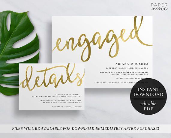Best Printable Engagement Invitations  Editable Templates
