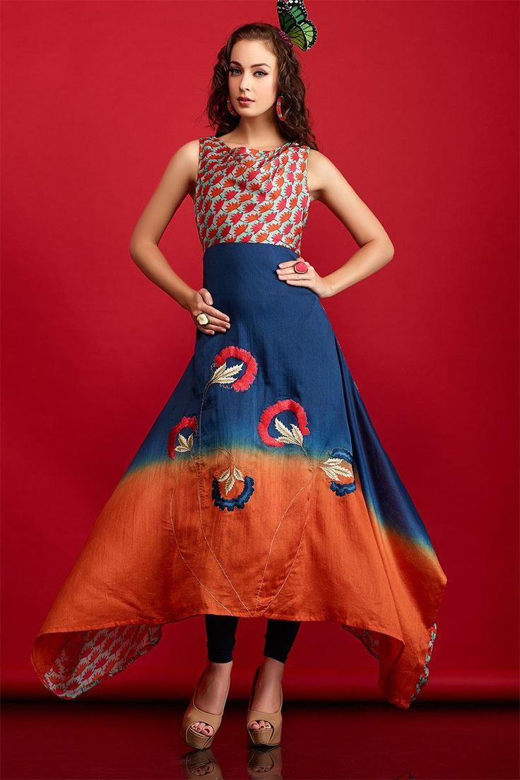 Aishwarya Artistic Blue & Orange Tapering Kurti @Looksgud.in #Aishwarya, #BlueAndOrange, #Kurti