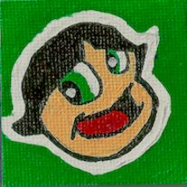 """A+1.78""""+x+1.78""""+mini+canvas+magnet+with+the+picture+of+Buttercup+from+the+PowerPuff+Girls. This+was+painted+by+hand+and+has+a+glossy+finish."""