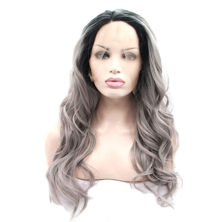 """(38.52$)  Buy here - http://ai8k1.worlditems.win/all/product.php?id=32778661316 - """"26"""""""" Long Wavy Grey Wigs Ombre Hair Synthetic Lace Front Wigs Body Wave Pelucas Sinteticas Grey Wigs Perucas Cosplay Lace Frontal"""""""