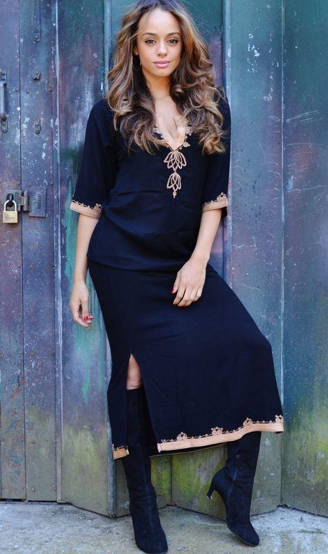 NEW Black with Caramel Brown Caftan Kaftan Maxi Dress -Khalia Style -loungewear,resortwear, great for Eid, Birthdays, Abaya,Maternity Gifts by MaisonMarrakech on Etsy