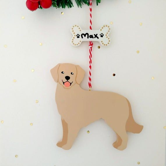Golden Retriever Christmas Ornament Personalized Handmade Wooden