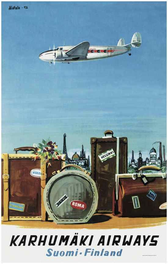 Come to Finland -Vintage Karhumäki Airways poster, 1952
