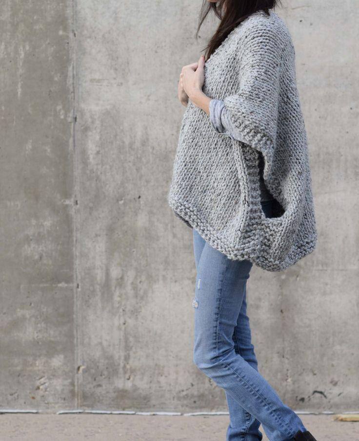 Cocoon Shrug Knitting Pattern Tutorial Livre Super Fácil