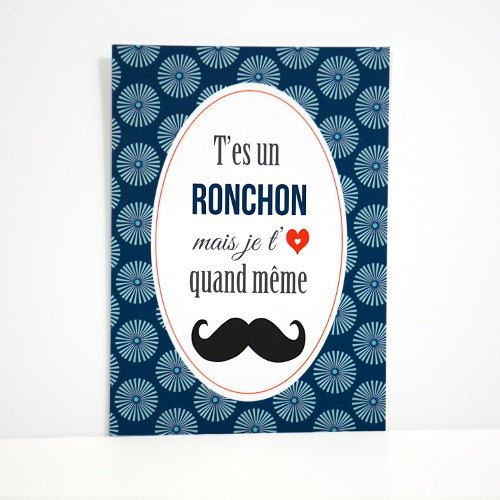 Carte postale  T'es un ronchon mais je t'aime quand par DodoetCath, €1.50