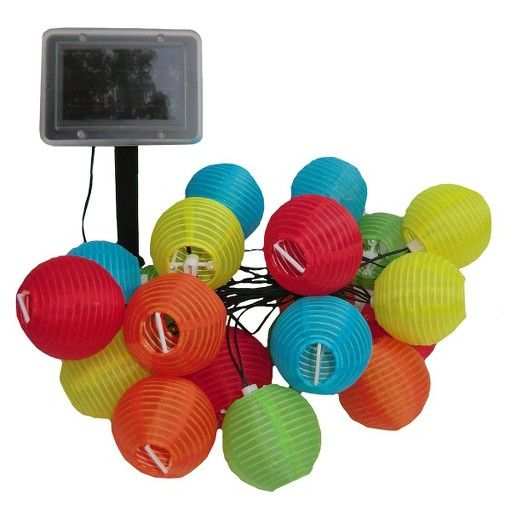 Outdoor parties and barbecues can carry on long into the night when you hang these solar lantern string lights. The set has 20 small lanterns, each in a vibrant color that'll provide light along with a decorative touch. The LED bulbs last longer than traditional ones, so they'll save you money in addition to what you save on your power bill due to the solar energy source.