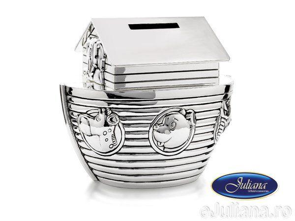 Pusculita Noah's Ark argintata Juliana, idei de cadouri pentru bebelusi cu ocazia botezului sau cu ocazia primei aniversari.