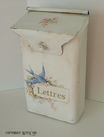Roses with bluebird mailbox painting,  new decoration on a vintage metal mailbox by WitsEnd, via Etsy.