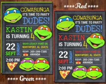 Ninja Turtle Invitation, Ninja Turtles Party, TMNT invitation, Teenage Mutant Ninja Turtle invitations, TMNT Birthday Invitation.,