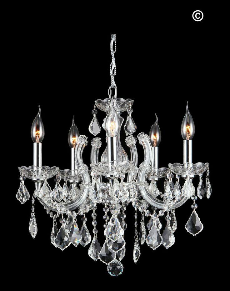 Maria Theresa 5 Light Crystal Chandelier - CHROME - Designer Chandelier Australia Pty Ltd