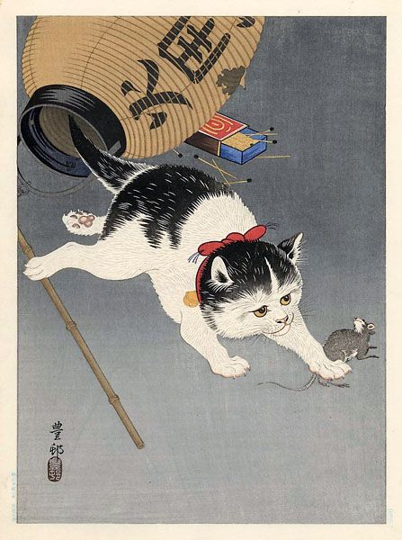 hanga gallery . . . torii gallery: Cat Trapping a Mouse by Ohara Koson