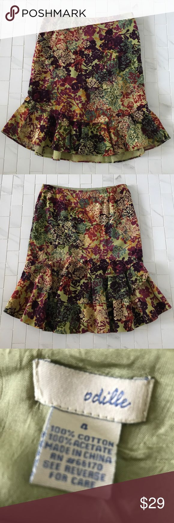 "Anthropologie multicolor floral skirt Eye catching pattern of warm fall colors 🍁in this pencil skirt with gold accents throughout. Peplum style hem. Two back darts. Fully lined. Approximate measurements flat: 15""waist, 22""waist to hem. The tiered ruffles along the back are unexpected.Side zipper with hook and eye closure. Cotton /acetate blend. Hand wash. Wear this skirt with a variety of colors you already have in your closet! Slip on some ankle boots or tall boots and this is a fun autumn…"